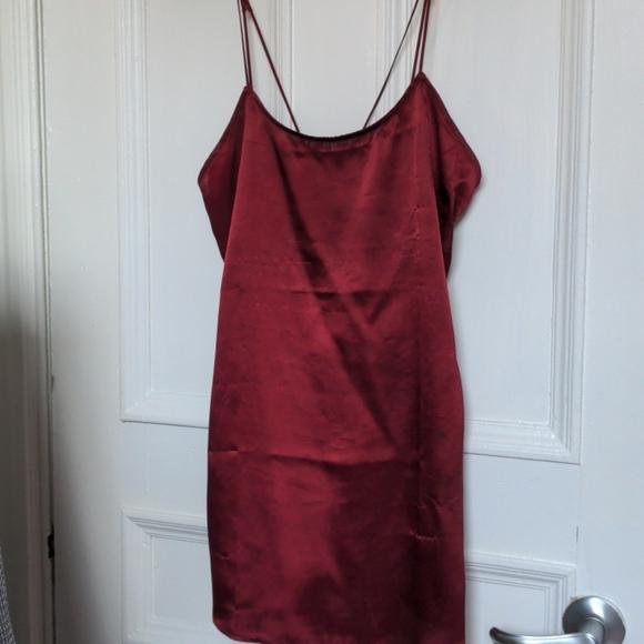 Mini blood red satin dress